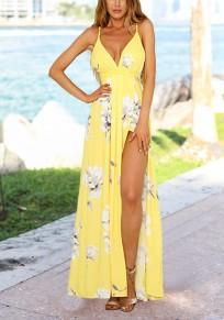 Maxi vestito spilla floreale con spallina fluida con v-collo festa di  campagna bohémien giallo a3f2576af15