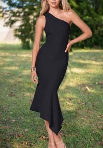 Maxi vestito arricciatura irregolare ritagliata altri elegante festa nero