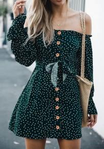 Mini abito pois stampa petto spalle senza spalle verde