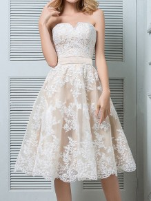 White Patchwork Lace Off Shoulder Pleated High Waisted Elegant Homecoming Party Midi Dress