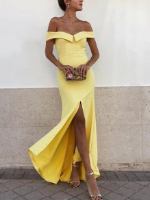 Yellow Pleated Off Shoulder Backless Mermaid Slit Prom Evening Party Maxi Dress
