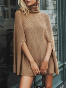 Camel Cut Out High Neck Long Sleeve Fashion Knit Cloak Mini Dress