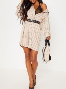 Beige Plaid Single Breasted One Shoulder Oversized Turndown Collar Boyfriend Casual Check Mini Blouse Dress
