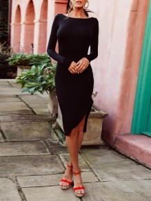 Black Irregular Collarless Long Sleeve Fashion Midi Dress