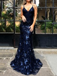 Navy Blue Patchwork Grenadine Sequin Spaghetti Strap Backless Deep V-neck Mermaid Elegant Party Maxi Dress