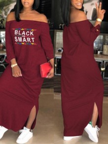 "Burgundy ""BLACK AND SMART"" Print Side Slit Off Shoulder Long Sleeve Casual Maxi Dress"
