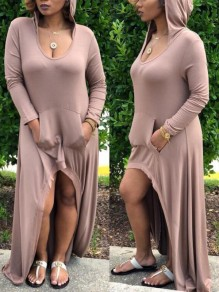 Apricot Pockets Draped High-Low Hooded Scoop Neck Long Sleeve Casual Maxi Dress