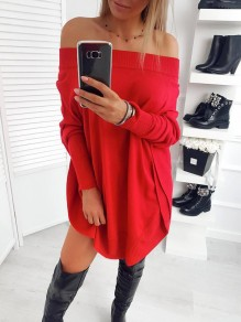 Red Double Slit Off Shoulder Bandeau Mini Dress