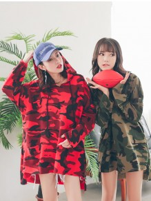 Red Camouflage Drawstring High-Low Plus Size Long Sleeve Casual Cute Mini Hooded Sweatshirt Dress