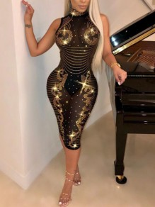 Black Golden Patchwork Grenadine Rhinestone Diamond Off Shoulder Bodycon Sparkly Clubwear Mini Dress