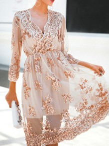 Apricot Patchwork Lace Grenadine Sequin Pleated High Waisted Deep V-neck Elegant Party Mini Dress
