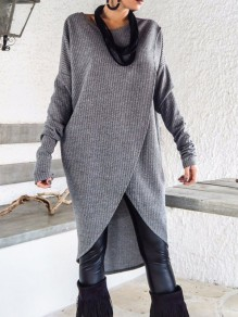 Dark Grey Irregular Long Sleeve Casual Midi Dress