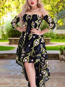 Black Floral Print Pleate Off Shoulder High-Low Homecoming Party Maxi Dress