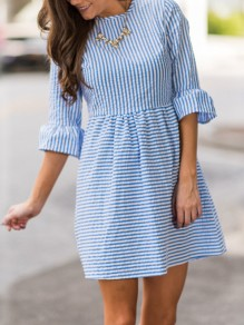 Dark Blue Striped Pleated Puff Sleeve Tutu Cute Homecoming Party Mini Dress