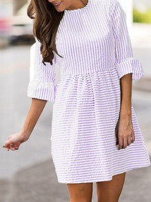 Purple Striped Pleated Puff Sleeve Tutu Cute Homecoming Party Mini Dress