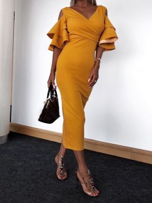 Yellow Ruffle Elbow Sleeve V-neck Going out Party Maxi Dress