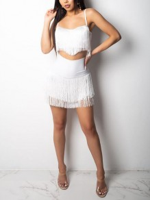 White Patchwork Tassel Spaghetti Strap Backless Two Piece Bodycon Clubwear Mini Dress