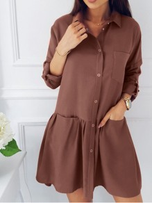 Brown Single Breasted Pockets Ruffle Turndown Collar Cute Casual Mini Dress