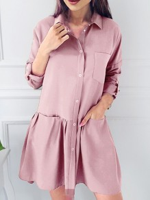 Pink Single Breasted Pockets Ruffle Turndown Collar Cute Casual Mini Dress