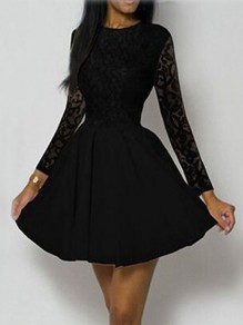 Black Lace Pleated High Waisted Tutu Long Sleeve Sweet Homecoming Party Mini Dress