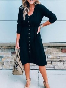 Black Buttons Long Sleeve Casual Going out Sweet Midi Dress