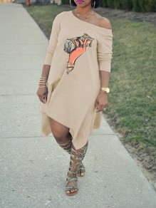 Apricot Money Print One Off Shoulder Irregular Party Midi Dress