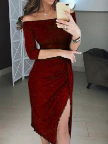 Wine Red Off Shoulder Slit Lace Long Sleeve Bodycon Elegant Midi Dress