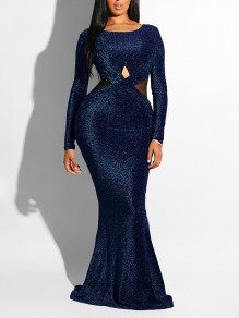 Navy Blue Cross Bright Wire Backless Bodycon Mermaid Long Sleeve Elegant Formal Maxi Dress