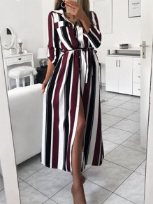 Wine Red Striped Single Breasted Sashes Side Slit Turndown Collar Long Sleeve Casual Maxi Dress