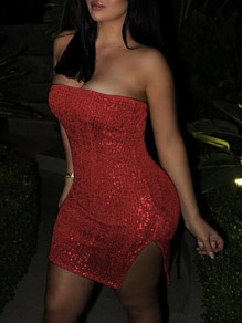 Red Bandeau Sequin Off Shoulder Backless Side Slit Sparkly Bodycon Clubwear Mini Dress