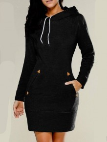Black Pockets Hooded Long Sleeve Fashion Mini Dress