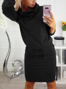 Black Pockets Drawstring Cowl Neck Long Sleeve Bodycon Casual Mini Dress