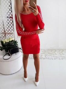 Red Beading Pearl Bodycon Long Sleeve Fashion Casual Mini Dress