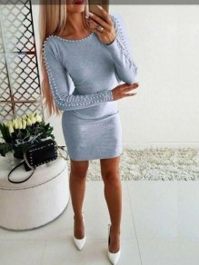 Grey Beading Pearl Bodycon Long Sleeve Fashion Casual Mini Dress