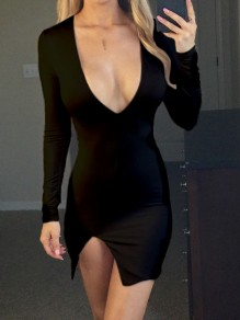 Black Side Slit Bodycon V-neck Long Sleeve Fashion Mini Dress