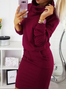 Red Drawstring Pockets Long Sleeve Casual Midi Dress
