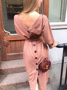 Pink Buttons Bow Sashes Solid back V Long Sleeve Elegant Going out Maxi Dress