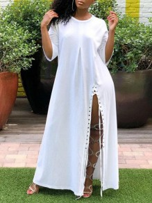 White Irregular Lace-up Side Slit Half Sleeve Oversized Casual Maxi Dress