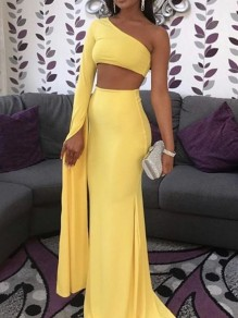 Yellow Asymmetric Shoulder Cut Out Backless Two Piece Mermaid Prom Evening Party Maxi Dress