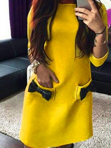 Yellow Bow 3/4 Sleeve Round Neck Sweet Going out Mini Dress