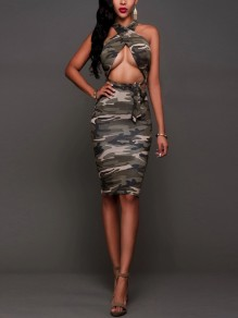 Multicolor Camouflage Cross Back Bodycon Clubwear Sleeveless Party Midi Dresses
