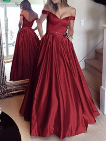 Wine Red Draped Lace Off Shoulder Backless Elegant Maxi Dress