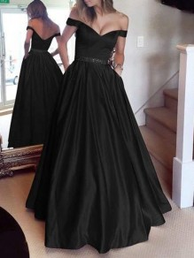 Black Draped Lace Off Shoulder Backless Elegant Maxi Dress