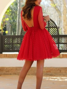 Red Patchwork Lace Cut Out Casual Sweet Going out Mini Dress
