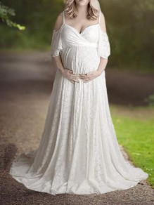 White Floral Lace Cut Out Spaghetti Strap High Waisted Pregnancy Maternity Maxi Dress