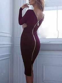 Burgundy Zipper Backless Slit Back Bodycon clubwear Round Neck Long Sleeve Maxi Dress