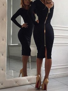 Black Zipper Backless Slit Back Bodycon clubwear Round Neck Long Sleeve Maxi Dress