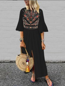 Black Embroidery Pleated Front Slit Bell Sleeve Mexico Bohemian Beachwear Maxi Dress