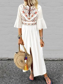 White Embroidery Pleated Front Slit Bell Sleeve Mexico Bohemian Beachwear Maxi Dress