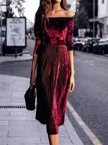 Burgundy Pleated Off Shoulder Half Sleeve Elegant Velvet Midi Dress